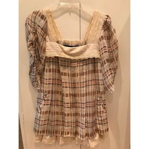 Plaid Silk and Cotton Eye-lit Baby Doll Dress